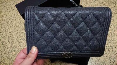 《降價》Chanel boy經典銀鏈深鐵灰色細微荔枝顆粒 WOC 原價76000 台北市
