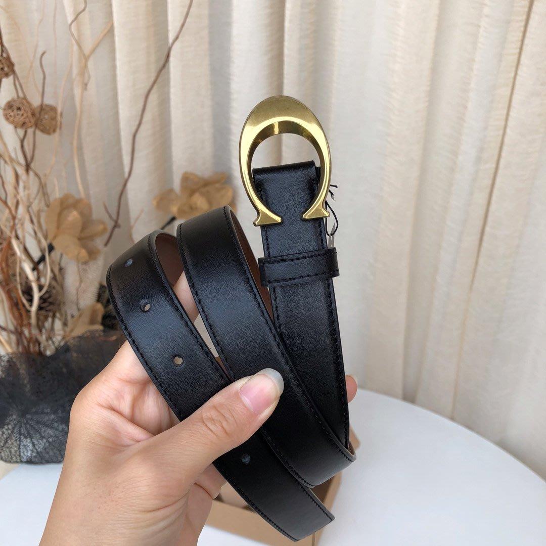 【八妹精品】COACH 83960 新款女士全牛皮材質 經典C扣皮帶 腰帶 不可裁剪 時尚百搭女式皮帶
