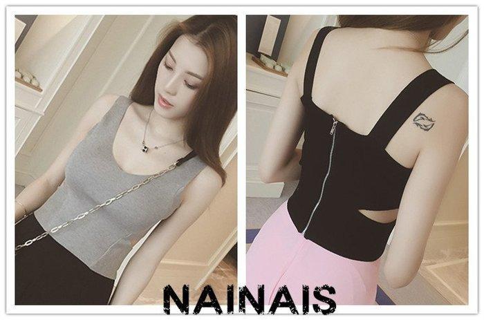 【NAINAIS】OR 9308 韓版 SEXY腰側鏤空後拉鍊堵短版針織背心 3色預