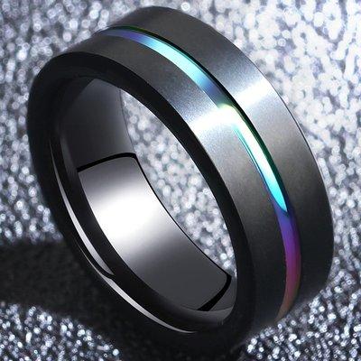 FEI日韓代購~男士鎢鋼個性戒指網紅潮人鎢金霸氣簡約男戒學生單身食指寬面指環