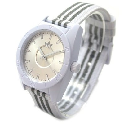 【adidas - ADH 2660】100%全新正品 輕量化 運動型 名錶 手錶 / 白色【防水50米】29g