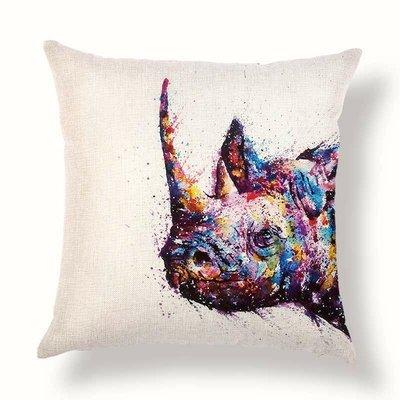 現貨 犀牛水彩潑漆 非洲動物 亞麻抱枕套 小枕頭套 45x45(不含枕芯)
