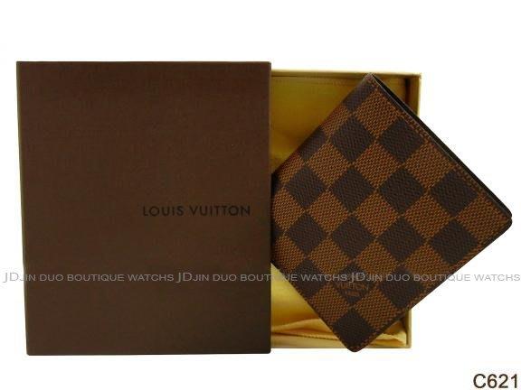 金鐸精品~C621 LOUIS VUITTON LV 路易威登 N61666 Damier 棋盤格二折6卡 短夾 全新品