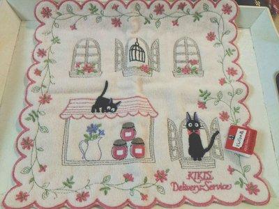 KIKIS 小黑貓 粉色底 嬰兒粉 手帕毛巾帕 日本帶回