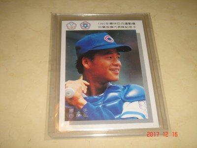 中華職棒 俊國熊隊 白昆弘 1992年奧運代表隊紀念卡 球員卡