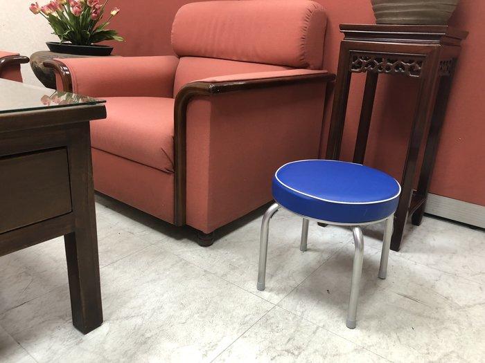兄弟牌丹非厚墊圓形椅凳 X 2張(寶藍色)~PU皮加厚5cm座墊設計 2 張/箱~客廳陽台房間隨處好用~