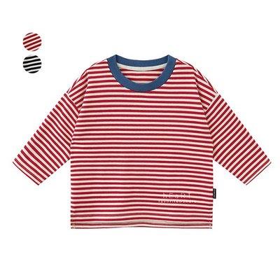 【可愛村】橫條紋撞色領長袖上衣 童裝 T-shirt