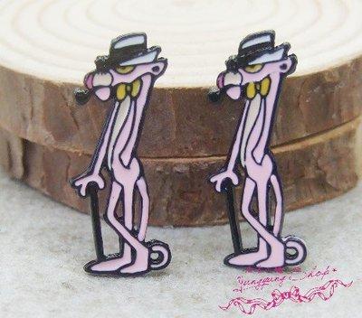 *。漾漾小舖*。♥卡通系列♥變裝英國紳士頑皮豹針式耳環˙鋼【A2575】☆°可改細膠夾+10