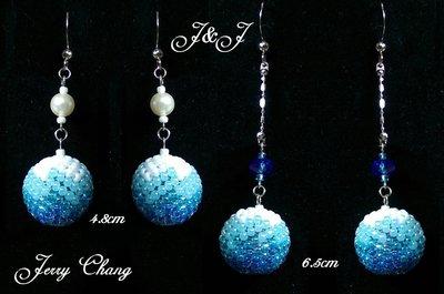 J&J精品~靜聽飄雪~珠寶編織水晶珍珠立體球墬亮麗耳環