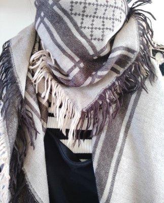 GUCCI 古馳  GG logo 格紋  絲+羊毛 絲巾 方巾 圍巾 二手 台中市