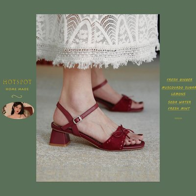 HOTSPOT 2020新款一字帶露趾涼鞋女粗跟仙女風蝴蝶結中跟百搭女鞋