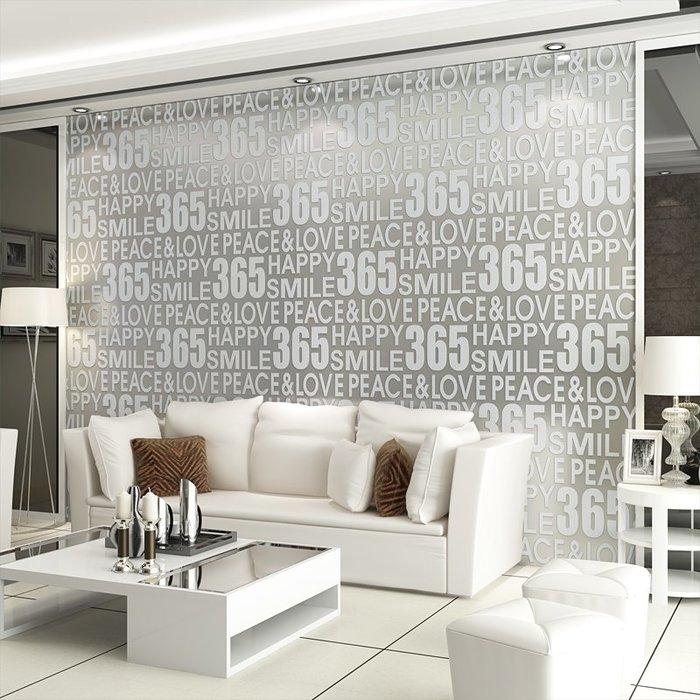 預售款-LKQJD-簡約現代個性英文字母墻紙3d立體 加厚鹿皮絨客廳沙發背景墻壁紙