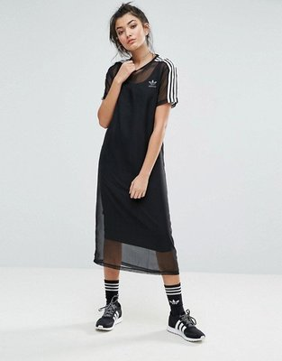 代購 adidas Originals Midi Dress With Sheer Mesh Overlay 黑 連身裙
