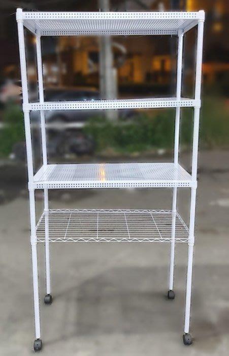 台中二手家具買賣 推薦 西屯樂居(北)中古傢俱館 A112708 * 白色四層鐵架* 二手中古鐵架 廚房收納置物架