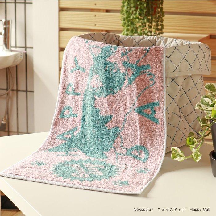 【貓下僕同盟】日本貓咪雜貨 貓咪圖案 擦臉巾 毛巾 包頭巾 方巾 浴巾 枕巾 粉色 34×70