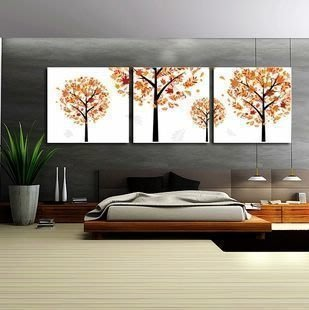 【優上精品】藝軒裝飾畫 客廳 現代 臥室掛畫 壁畫 現代三聯畫 發財樹(Z-P3238)