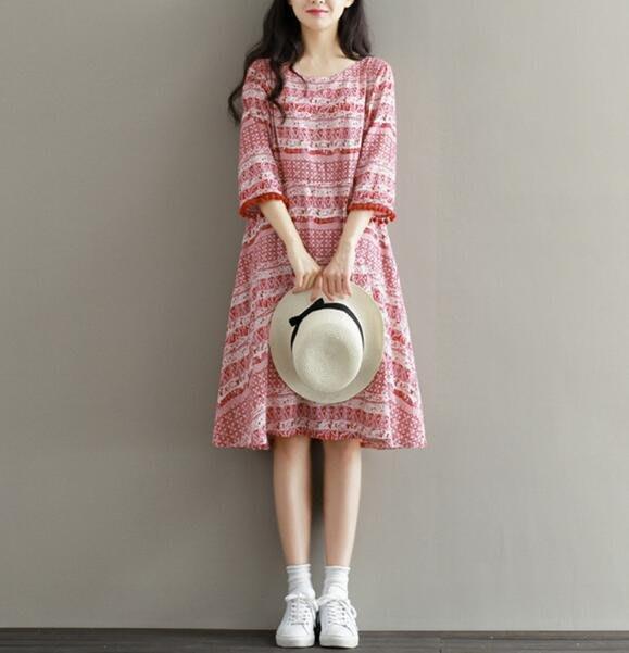洋裝 夏季女裝民族風裙 流蘇複古印花中長款顯瘦A字裙 五分袖棉綢連身裙—莎芭