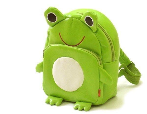 直670巷:日單LINDA兒童寶寶雙肩包動物卡通 可愛背包包 幼兒書包~PU皮革青蛙 區~~約20~12~23公分~