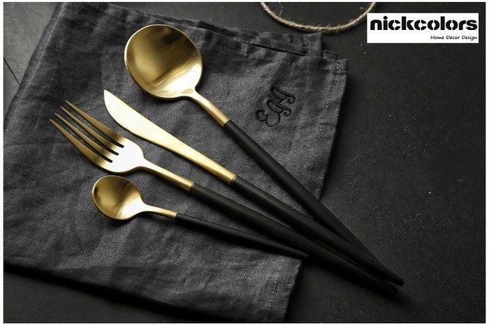 尼克卡樂斯~葡萄牙設計402不鏽鋼鍍金西餐餐具4件套組晶鑽黑刀叉組 西餐餐具組 北歐餐具 西餐廳精品餐具