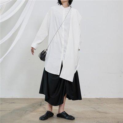 【鈷藍家】SU自制yohji風小眾山本暗黑多種穿法中長版黑白色襯衫