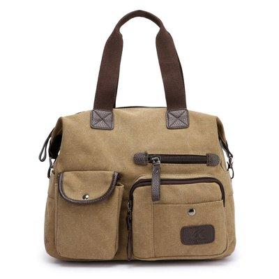 手提包帆布肩背包-拼色百搭多隔層大容量女包包7色73wa11[獨家進口][米蘭精品]