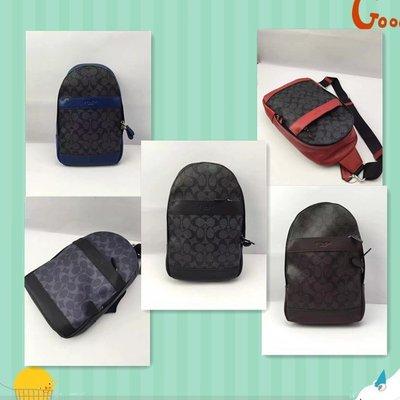 NaNa代購 COACH 72043 五色可選 胸包 時尚休閒 PVC拼牛皮 肩背包 出門攜帶方便 附購證 買即送鏡子