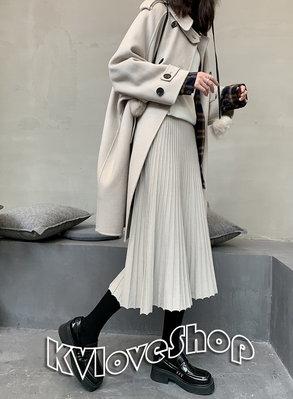KVLOVE SHOP〥韓國風 簡約四色百褶舒適垂感密實針織中長裙 4色〥特價