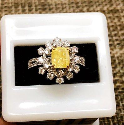 破盤價GIA天然黃彩鑽石1.56克拉~18K金鑽戒Fancy Yellow~附GIA鑽石鑑定書!香港制