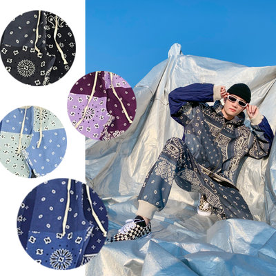 ∵ PRAY FOR FASHION ∴日系民族風個性抽象高質感拼色變形蟲棉質寬鬆休閒運動棉褲