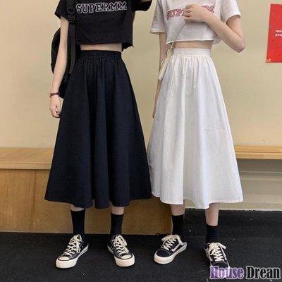 及膝裙 白色半身裙女長裙夏季2020新款高腰a字裙學生中長款裙子夏天