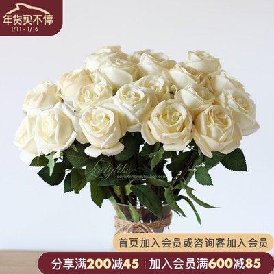千禧禧居~ladylike美式法式高檔pu手感香味 玫瑰花束仿真花家居飾品擺件