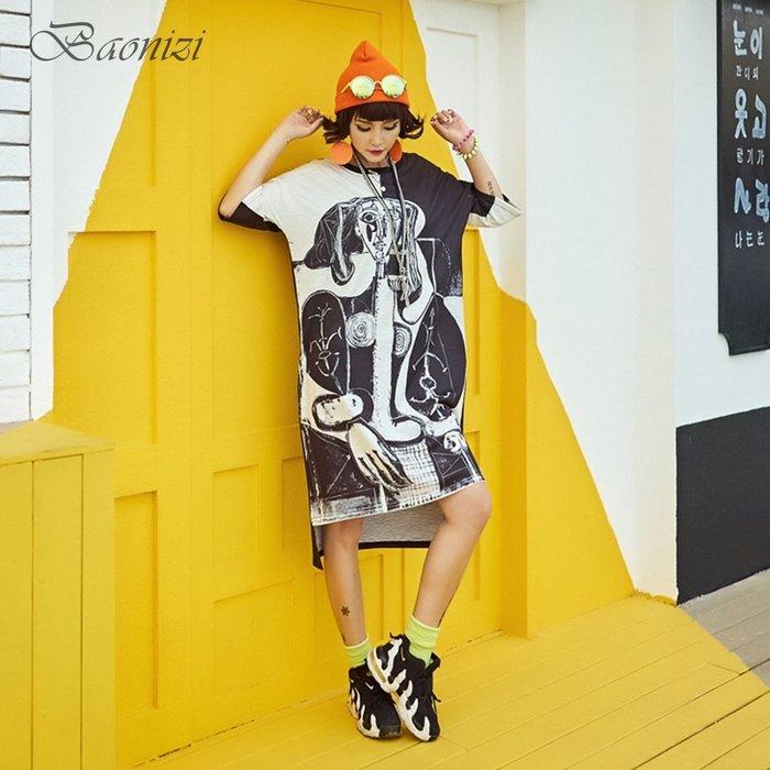 Oversize 303205 中大尺碼 運動休閒T恤裙 抽象誇張撞色設計 寬鬆舒適 Baonizi 寶妮子
