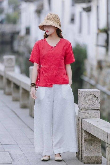 短袖上衣/夏季V領斜襟繫帶套頭式麻衫(老銀屋)