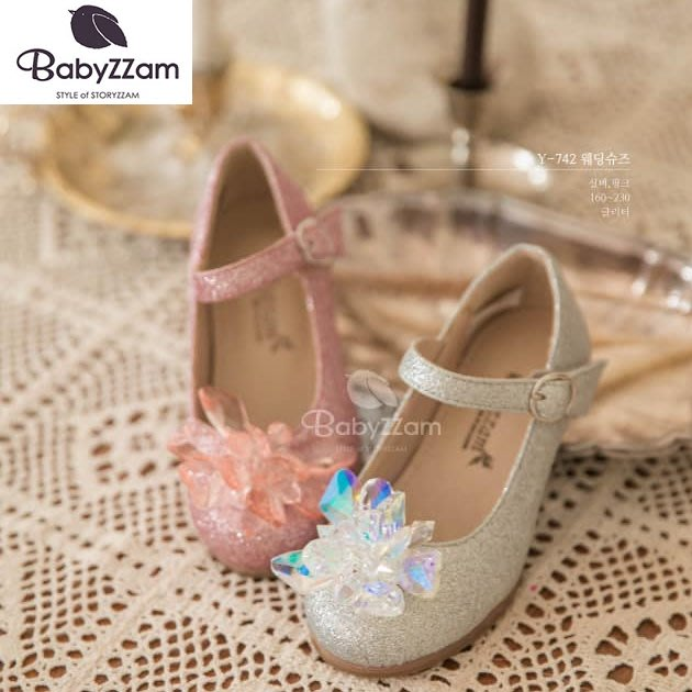 『※妳好,可愛※』妳好可愛韓國童鞋 BABYZZAM~正韓 時尚經典高跟娃娃鞋 閃亮娃娃鞋 娃娃鞋