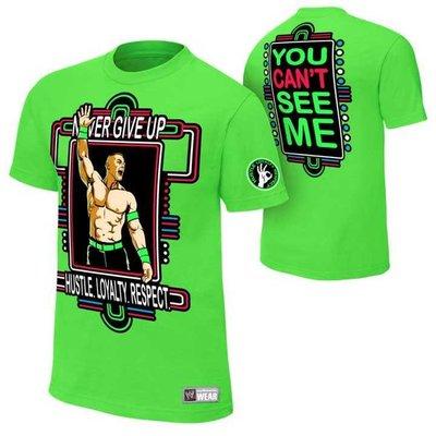"""新款摔角衣服WWE John Cena Neon Green Authentic 約翰塞納 全綠款""""熒光綠""""短袖T恤"""