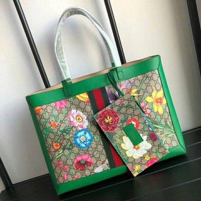 全新Gucci綠色繽紛花卉子母包