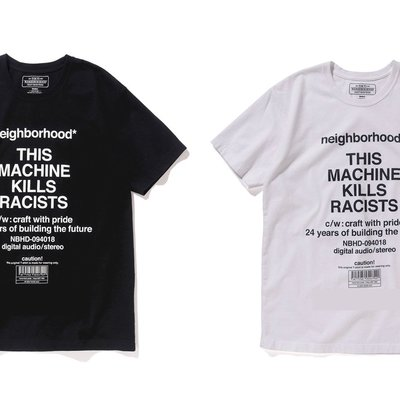 日本neighborhood nbhd hoods 新款18SS限定標語黑色短袖T恤racists tee