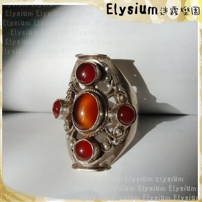 Elysium‧迷霧樂園〈R859〉尼泊爾‧ 國際戒圍14_複雜雕花 封底橘玉髓 紅瑪瑙 925銀手工寬版戒指
