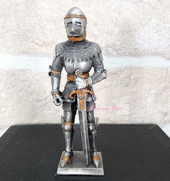 點點蘑菇屋{合金武士擺飾}合金中古武士(十四)~左手拿劍 鐵甲武士 歐洲中古世紀羅馬 全身盔甲 盔甲武士 現貨