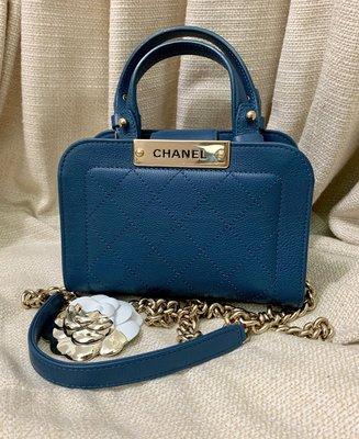 小巴黎二手名牌~新款真品 CHANEL 藍色 handle 孟買鏈 可以肩背 斜背 手提 mini coco 方胖子