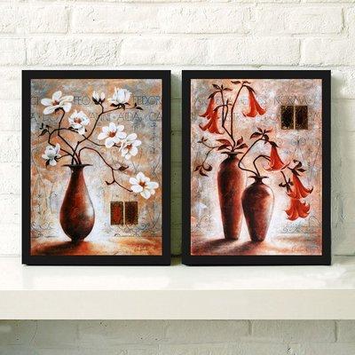 油畫抽象花瓶客廳裝飾畫油畫現代簡約有框畫玄關歐式復古掛畫墻畫壁畫 全店免運