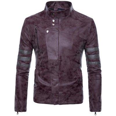 皮衣 外套 皮夾克-復古作舊立領修身男外套2色73ua20[獨家進口][米蘭精品]