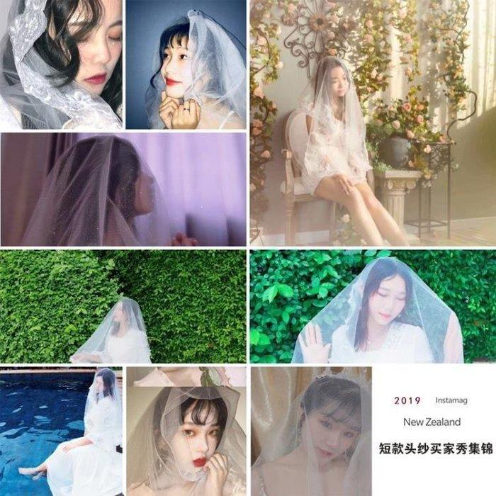 麥麥部落 新娘頭紗旅拍簡約式式頭紗短款韓式森系頭飾超仙婚紗拍照結婚MB9D8