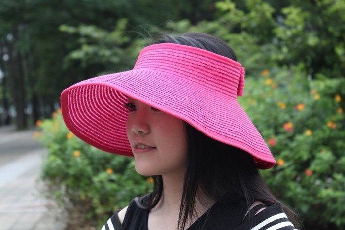 帽子 【FSS001】素色韓系草編空頂遮陽帽 陽光 遮陽 配件 托特包 收納女王