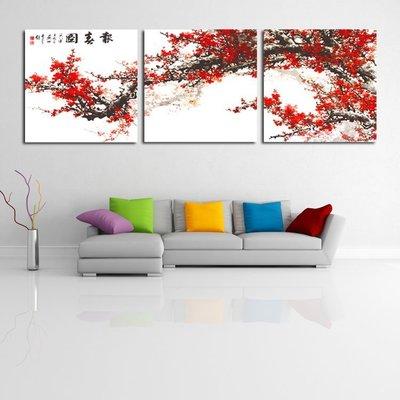 裝飾畫 客廳 現代 無框畫 版畫 壁畫 家居飾品 梅花傲雪 報喜圖QY-168376-
