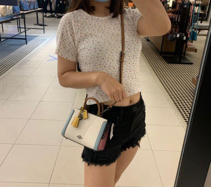 COACH 1426 新款女士Zoe迷你手提包 素面拼色方形小包 單肩斜挎包