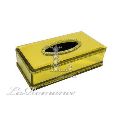 【芮洛蔓 La Romance】 璀璨水晶面紙盒 - 金黃