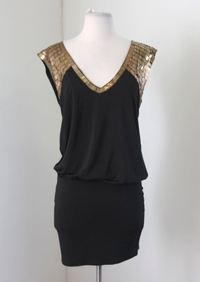 美系品牌  BEBE 黑色/亮片/金屬 黑色洋裝 XS