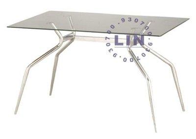 【品特優家具倉儲】P845-21餐桌洽談桌玻璃桌歐風電鍍玻璃餐桌2*3.5尺