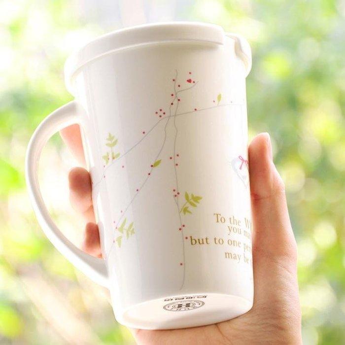 陶瓷杯子帶蓋勺骨瓷情侶馬克杯創意辦公室喝水杯咖啡牛奶杯大容量 免運費